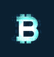 glowing bitcoin cryptocurrency symbol on dark vector image vector image
