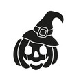 halloween pumpkin witch hat black icon isolated vector image
