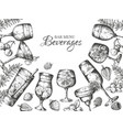 hand drawn cocktails background alcoholic vector image vector image