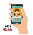 hand hold smartphone taxi mobile vector image