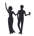 happy couple on party icon vector image