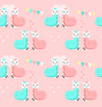 happy cute alpaca couples seamless pattern vector image vector image