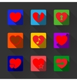 hearts with long shadow icon set vector image vector image