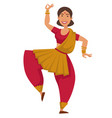 indian woman in sari dancing traditional dance vector image vector image