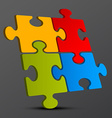 Jigsaw - Puzzle Pieces 3D on Dark Background vector image
