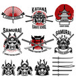 karate school labels samurai swords samurai masks vector image