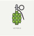 line flat color military icon - hand vector image vector image