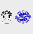 linear radio operator icon and distress vector image vector image