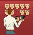 man chooses the mask pop art vector image vector image