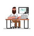 man designer doing on tablet vector image vector image