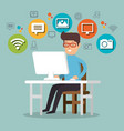 man working with social media icons vector image vector image