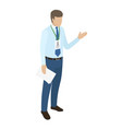 manager with badge on neck holds paper in one hand vector image