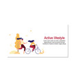 modern people active lifestyle flat banner vector image