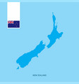 new zealand country map with flag over blue vector image
