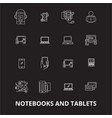 notebooks and tablets editable line icons vector image vector image