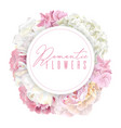 peony pink round banner vector image vector image