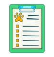 Pet medical record on clipboard icon cartoon style vector image