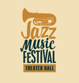 poster for jazz music festival with saxophone vector image vector image