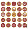 quality gold and red labels vector image vector image