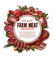 sketch farm fresh meat butchery poster vector image vector image