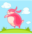 smiling funny pink bunny jumped out of the grass vector image vector image