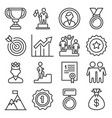success and victory icons set on white background vector image vector image