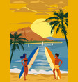 surfers man and woman couple on beach sunset vector image vector image