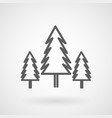 three conifer pine trees in a forest line art icon vector image vector image