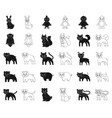 toy animals blackoutline icons in set collection vector image