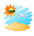 tropical island with sun and airplane vector image
