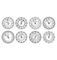 vintage wall clocks with roman numerals outline vector image vector image