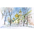 Watercolor winter landscape with church vector image vector image
