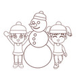 winter boy and girl with snowman brown lines vector image