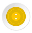 yellow sewing button icon circle vector image vector image