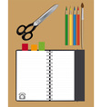 notebook scissors and pencils vector image