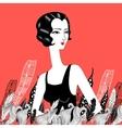 retro fashion girl vector image