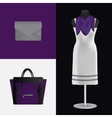 A dress on a mannequin bag and clutch vector image vector image