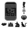 Ancient egypt black icons in set collection for