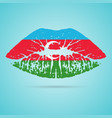 azerbaijan flag lipstick on the lips isolated on a vector image vector image