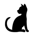 black silhouette of a sitting cat vector image vector image