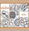 bread and pastry banners set bakery hand drawn vector image vector image