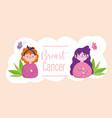 breast cancer cartoon women butterflies and words vector image vector image