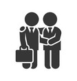 business man handshake icon on white background vector image