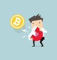 businessman attracting bitcoin with a large magnet vector image vector image