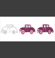 cartoon car set vector image