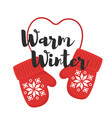 cartoon style of mittens with title warm winter vector image