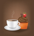 coffee cup with cupcake vector image vector image