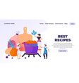 cooking landing page professional chef cartoon vector image