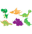 cute dinosaur cartoon collection set vector image