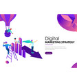 digital marketing strategy it team with diagram vector image